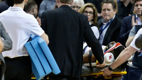 <p>               Oklahoma City Thunder forward Nerlens Noel is wheeled off the court on a stretcher in the second half of an NBA basketball game against the Minnesota Timberwolves in Oklahoma City, Tuesday, Jan. 8, 2019. (AP Photo/Sue Ogrocki)             </p>