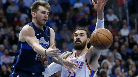 <p>               Dallas Mavericks forward Luka Doncic (77) passes in front of Oklahoma City Thunder center Steven Adams (12) in the first half of an NBA basketball game in Oklahoma City, Monday, Dec. 31, 2018. (AP Photo/Sue Ogrocki)             </p>