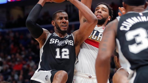 <p>               San Antonio Spurs center LaMarcus Aldridge (12) drives to the basket against New Orleans Pelicans center Jahlil Okafor in the second half of an NBA basketball game in New Orleans, Saturday, Jan. 26, 2019. (AP Photo/Gerald Herbert)             </p>