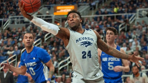 <p>               Nevada forward Jordan Caroline (24) grabs a rebound against Air Force in the first half of an NCAA college basketball game in Reno, Nev., Saturday, Jan. 19, 2019. (AP Photo/Tom R. Smedes)             </p>