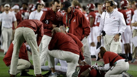 <p>               Alabama head coach Nick Saban looks on as Saivion Smith is injured during the second half of the NCAA college football playoff championship game against Clemson, Monday, Jan. 7, 2019, in Santa Clara, Calif. (AP Photo/Chris Carlson)             </p>