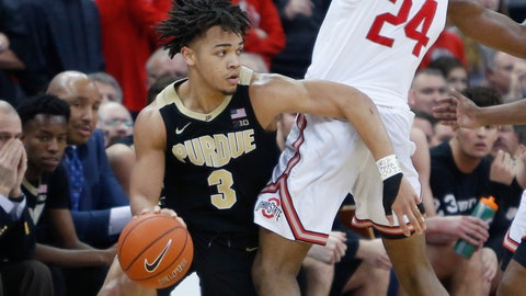 <p>               Purdue's Carsen Edwards, left, tries to work around Ohio State's Andre Wesson during the second half of an NCAA college basketball game Wednesday, Jan. 23, 2019, in Columbus, Ohio. Purdue won 79-67. (AP Photo/Jay LaPrete)             </p>