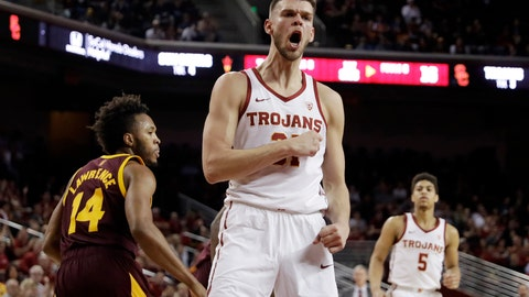 <p>               FILE - In this Saturday, Jan. 26, 2019, file photo, Southern California forward Nick Rakocevic, center, reacts after scoring against Arizona State during the first half of an NCAA college basketball game in Los Angeles. Rakocevic has emerged as one of the top players during the first half of the Pac-12 Conference season, leading the league in double-doubles as the Trojans go into a key game on Wednesday at Washington. (AP Photo/Marcio Jose Sanchez, File)             </p>
