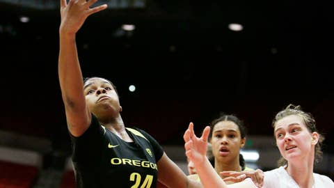 <p>               Oregon forward Ruthy Hebard (24) and Washington State forward Borislava Hristova (45) go after a rebound during the first half of an NCAA college basketball game in Pullman, Wash., Friday, Jan. 25, 2019. (AP Photo/Young Kwak)             </p>