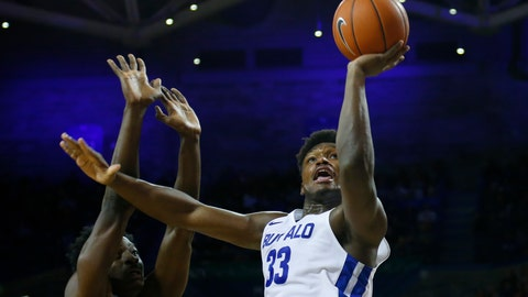 <p>               Buffalo forward Nick Perkins (33) shoots against Eastern Michigan during the first half of an NCAA college basketball game, Friday, Jan. 18, 2019, in Buffalo N.Y. (AP Photo/Jeffrey T. Barnes)             </p>