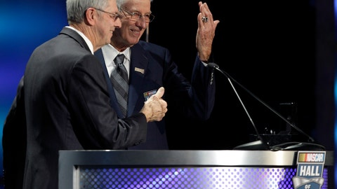 """<p>               FILE - In this Jan. 20, 2012, file photo, Glen Wood, right, shows off his induction ring as his brother, Leonard Wood, left, looks on during the NASCAR Hall of Fame induction ceremony at the NASCAR Hall of Fame in Charlotte, N.C. Glen Wood, patriarch of the famed Wood Brothers Racing team and the oldest living member of the NASCAR Hall of Fame, has died after a long illness, in Stuart, Virginia. He was 93. """"It's with profound sadness that we mourn the passing of team founder and family patriarch Glen Wood this morning,"""" The Wood Brothers posted on social media Friday morning, Jan. 19, 2019. (AP Photo/Chuck Burton, File)             </p>"""