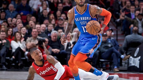 <p>               Oklahoma City Thunder forward Paul George, right, dribbles away from Portland Trail Blazers guard Damian Lillard during the first half of an NBA basketball game in Portland, Ore., Friday, Jan. 4, 2019. (AP Photo/Craig Mitchelldyer)             </p>