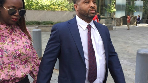 <p>               FILE - In this Oct. 10, 2017, file photo, University of Arizona assistant men's basketball coach Emanuel Richardson leaves Manhattan federal court in New York. Richardson, no longer with the team, is expected in federal court, Tuesday, Jan. 22, 2019, for a development in a criminal case in which he is charged with taking bribes from a sports agent. (AP Photo/Larry Neumeister, File)             </p>