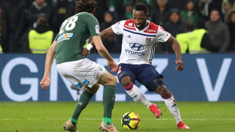 <p>               Lyon's Moussa Dembele, right, challenges for the ball with Saint-Etienne's Neven Subotic, left, during their French League One soccer match in Saint-Etienne, central France, Sunday, Jan. 20, 2019. (AP Photo/Laurent Cipriani)             </p>