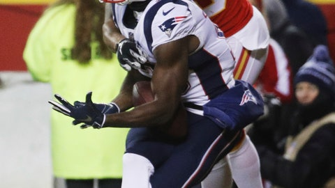 <p>               New England Patriots wide receiver Phillip Dorsett (13) makes a touchdown reception against Kansas City Chiefs cornerback Steven Nelson (20) during the first half of the AFC Championship NFL football game, Sunday, Jan. 20, 2019, in Kansas City, Mo. (AP Photo/Charlie Riedel)             </p>
