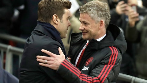 <p>               Manchester United caretaker manager Ole Gunnar Solskjaer, right, greets Tottenham manager Mauricio Pochettino, left, prior to the English Premier League soccer match between Tottenham Hotspur and Manchester United at Wembley stadium in London, England, Sunday, Jan. 13, 2019. (AP Photo/Matt Dunham)             </p>