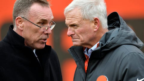 <p>               FILE - In this Dec. 10, 2017, file photo, Cleveland Browns general manager John Dorsey, left, talks with owner Jimmy Haslam before an NFL football game between the Green Bay Packers and the Cleveland Browns, in Cleveland. One week into their coaching search, the Browns are taking a timeout. After conducting interviews with seven candidates in seven days, general manager John Dorsey and members of the team's search committee, which includes owner Jimmy Haslam, were not expected to meet with anyone on Tuesday, Jan. 8, 2019, and could be evaluating their next move.(AP Photo/David Richard, File)             </p>