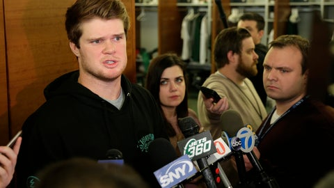 <p>               New York Jets quarterback Sam Darnold talks to reporters in the locker room in Florham Park, N.J., Monday, Dec. 31, 2018. The search for a new coach has begun for the New York Jets. After firing Todd Bowles on Sunday night, the team is focused on bringing in someone who will be able to lead a franchise that has missed the playoffs for eight straight seasons but has a promising young quarterback in Darnold and expects to be busy in free agency this offseason.(AP Photo/Seth Wenig)             </p>