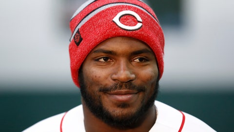 <p>               Cincinnati Reds Yasiel Puig takes questions from reporters during a media availability at the P&G MLB Cincinnati Reds Youth Academy, Wednesday, Jan. 30, 2019, in Cincinnati. (AP Photo/John Minchillo)             </p>