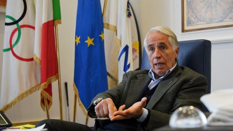 <p>               President of the Italian National Olympic Committee, CONI, Giovanni Malago' talks during an interview with The Associated Press, in Rome, Friday, Jan. 11, 2019. With soaring costs, declining interest and a general lack of bids _ especially for the Winter Games _ the Milan-Cortina candidacy takes advantage of the more flexible rules provided by Agenda 2020. (AP Photo/Andrew Medichini)             </p>