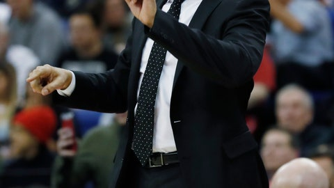 <p>               New York Knicks head coach David Fizdale gestures during an NBA basketball game between New York Knicks and Washington Wizards at the O2 Arena, in London, Thursday, Jan.17, 2019. (AP Photo/Alastair Grant)             </p>