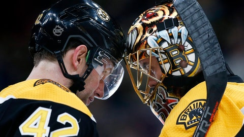 <p>               Boston Bruins' David Backes (42) and Tuukka Rask celebrate after defeating the Buffalo Sabres during an NHL hockey game in Boston, Saturday, Jan. 5, 2019. (AP Photo/Michael Dwyer)             </p>