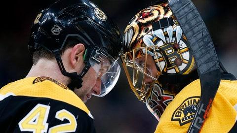 <p>               Boston Bruins' David Backes (42) and Tuukka Rask celebrate after defeating the Buffalo Sabres during an NHL hockey game in Boston, Saturday, Jan. 5, 2019. (AP Photo/Michael Dwyer)             </p>