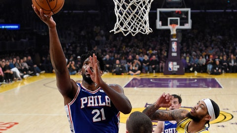 <p>               Philadelphia 76ers center Joel Embiid, left, shoots as Los Angeles Lakers forward Brandon Ingram, right, defends during the first half of an NBA basketball game Tuesday, Jan. 29, 2019, in Los Angeles. (AP Photo/Mark J. Terrill)             </p>