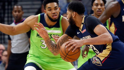 <p>               New Orleans Pelicans' Anthony Davis, right, drives as Minnesota Timberwolves' Karl-Anthony Towns defends in the first half of an NBA basketball game Saturday, Jan. 12, 2019, in Minneapolis. (AP Photo/Jim Mone)             </p>
