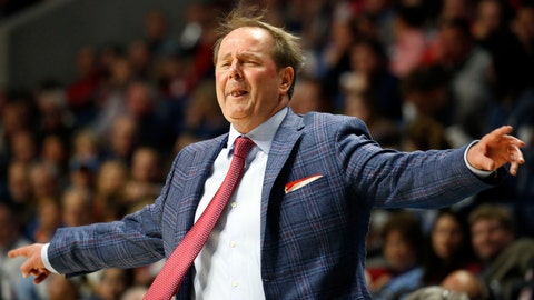 <p>               Mississippi coach Kermit Davis reacts to an official's call during the first half of the team's NCAA college basketball game against Auburn, Wednesday, Jan. 9, 2019, in Oxford, Miss. (AP Photo/Rogelio V. Solis)             </p>