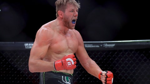 <p>               Jake Hager celebrates his win against J. W. Kiser in their mixed martial arts heavyweight bout at Bellator 214 on Saturday, Jan. 26, 2019, in Inglewood, Calif. (AP Photo/Chris Carlson)             </p>