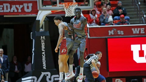 <p>               Utah forward Both Gach, right, celebrates with teammate Timmy Allen, right, after scoring against Colorado during the first half of an NCAA college basketball game Sunday, Jan. 20, 2019, in Salt lake City. (AP Photo/Rick Bowmer)             </p>
