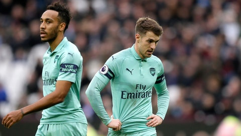 <p>               Arsenal's Aaron Ramsey and Pierre-Emerick Aubameyang, left, react during the English Premier League soccer match between West Ham United and Arsenal at London Stadium in London, Saturday, Jan. 12, 2019. (AP Photo/Tim Ireland)             </p>