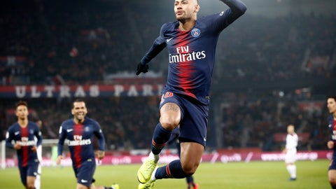 <p>               PSG's Neymar celebrates after scoring the opening goal during the League One soccer match between Paris Saint Germain and Guingamp at the Parc des Princes stadium in Paris, Saturday, Jan. 19, 2019. (AP Photo/Michel Euler)             </p>