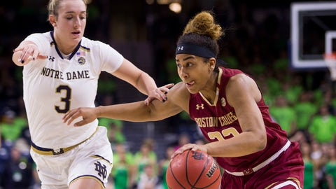 <p>               Boston College's Lana Hollingsworth, right, drives in next to Notre Dame's Marina Mabrey (3) during the first half of an NCAA college basketball game Sunday, Jan. 20, 2019, in South Bend, Ind. (AP Photo/Robert Franklin)             </p>