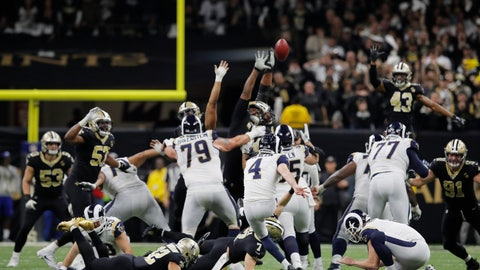 <p>               Los Angeles Rams kicker Greg Zuerlein kicks the game-winning field goal in overtime of the NFL football NFC championship game against the New Orleans Saints, Sunday, Jan. 20, 2019, in New Orleans. The Rams won 26-23. (AP Photo/Carolyn Kaster)             </p>