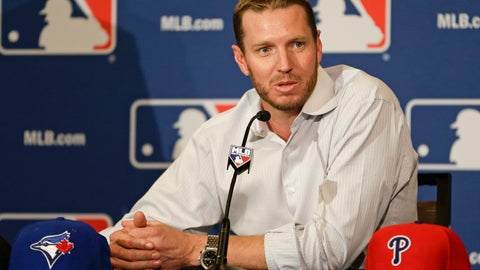<p>               FILE - In this Dec. 9, 2013, file photo, two-time Cy Young Award winner Roy Halladay answers questions after announcing his retirement after 16 seasons in the major leagues with Toronto and Philadelphia at the MLB winter meetings in Lake Buena Vista, Fla. Halladay, Mariano Rivera and Edgar Martinez seem likely to be elected to baseball's Hall of Fame on Tuesday, Jan. 22, 2019. ( AP Photo/John Raoux, File)             </p>