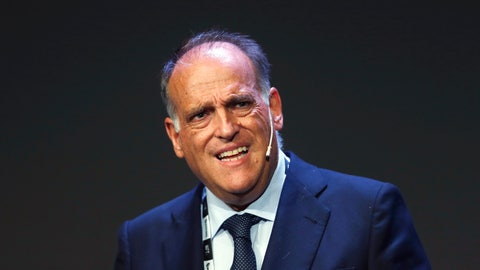 <p>               FILE - In this Monday, Sept. 24, 2018 file photo, Javier Tebas, the president of the Spanish La Liga, speaks during the World Football summit in Madrid, Spain. As Spanish league president Tebas sees it, expanding internationally is the only way to keep the league competitive. La Liga competitive with the Premier League and other top leagues. (AP Photo/Paul White, file)             </p>