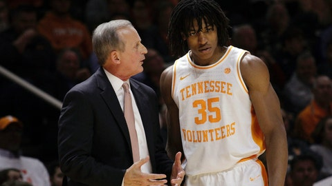 <p>               Tennessee head coach Rick Barnes speaks with Tennessee forward Yves Pons (35) in the first half of an NCAA college basketball game against Arkansas, Tuesday, Jan. 15, 2019, in Knoxville, Tenn. (AP Photo/Shawn Millsaps)             </p>