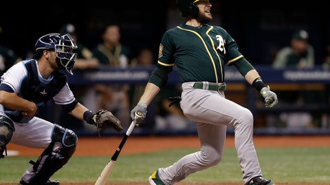 <p>               FILE - In this Sept. 15, 2018, file photo, Oakland Athletics' Jed Lowrie, right, lines an RBI-single off Tampa Bay Rays pitcher Yonny Chirinos as Rays catcher Nick Ciuffo, left, looks on during the third inning of a baseball game in St. Petersburg, Fla. A person familiar with the negotiations tells The Associated Press that free agent Lowie and the New York Mets have agreed to a $20 million, two-year contract. The person spoke on condition of anonymity Thursday, Jan. 10, 2019, because the agreement is subject to a successful physical. (AP Photo/Chris O'Meara, File)             </p>
