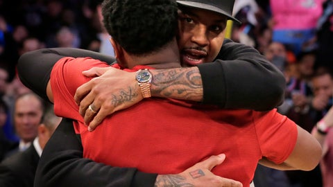 <p>               Miami Heat's Dwyane Wade, left, hugs former New York Knick Carmelo Anthony after the NBA basketball game, Sunday, Jan. 27, 2019, in New York. (AP Photo/Seth Wenig)             </p>