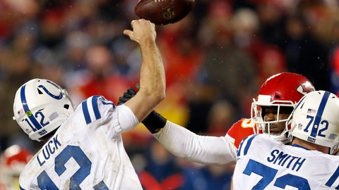 <p>               Kansas City Chiefs linebacker Dee Ford, back right, causes Indianapolis Colts quarterback Andrew Luck (12) to fumble the ball for a turnover, during the second half of an NFL divisional football playoff game in Kansas City, Mo., Saturday, Jan. 12, 2019. (AP Photo/Charlie Neibergall)             </p>