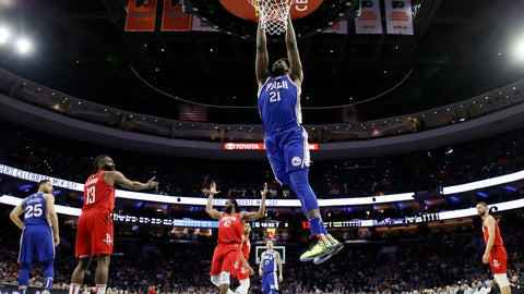 <p>               Philadelphia 76ers' Joel Embiid (21) goes up for a dunk during the first half of an NBA basketball game against the Houston Rockets, Monday, Jan. 21, 2019, in Philadelphia. (AP Photo/Matt Slocum)             </p>