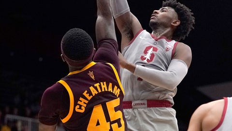 <p>               Stanford guard Daejon Davis (1) drives to the basket against Arizona State forward Zylan Cheatham (45) during the first half of an NCAA college basketball game in Stanford, Calif., Saturday, Jan. 12, 2019. (AP Photo/Tony Avelar)             </p>