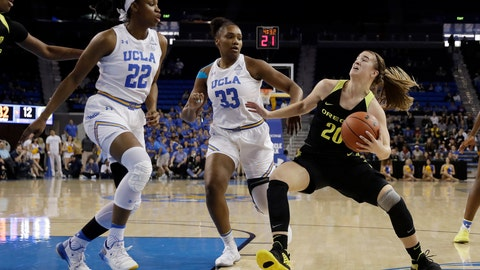 <p>               Oregon guard Sabrina Ionescu (20) drives to the basket as UCLA forward Lauryn Miller (33) and guard Kennedy Burke (22) defend during the first half of an NCAA college basketball game Sunday, Jan. 13, 2019, in Los Angeles. (AP Photo/Marcio Jose Sanchez)             </p>