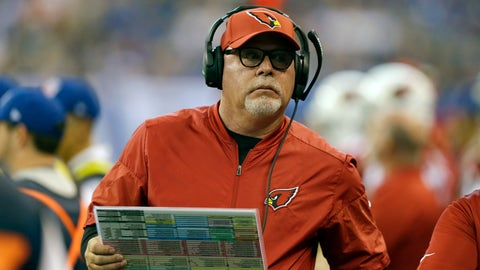 <p>               FILE - In this Sunday, Sept. 17, 2017 file photo, Arizona Cardinals head coach Bruce Arians watches during the first half of an NFL football game against the Indianapolis Colts in Indianapolis. Bruce Arians is the latest coach entrusted to transform the struggling Tampa Bay Buccaneers into winners. The 66-year-old came out of a one-year retirement to fill the team's fifth coaching vacancy in a decade. Arians replaces Dirk Koetter, who was dismissed Dec. 30, 2018 after leading the Bucs to 19 wins and no playoffs berths over the past three seasons. (AP Photo/Michael Conroy, File)             </p>