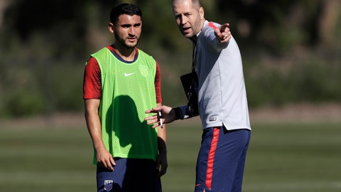 <p>               United States head coach Gregg Berhalter, right, instructs player Cristian Roldan during a soccer training camp Monday, Jan. 7, 2019, in Chula Vista, Calif. (AP Photo/Marcio Jose Sanchez)             </p>