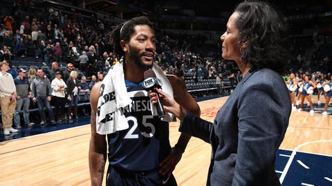 MINNEAPOLIS, MN -  JANUARY 20: Derrick Rose #25 of the Minnesota Timberwolves talks with media after the game against the Phoenix Suns on January 20, 2019 at Target Center in Minneapolis, Minnesota. NOTE TO USER: User expressly acknowledges and agrees that, by downloading and or using this Photograph, user is consenting to the terms and conditions of the Getty Images License Agreement. Mandatory Copyright Notice: Copyright 2019 NBAE (Photo by Jordan Johnson/NBAE via Getty Images)