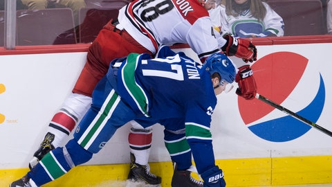 <p>               Carolina Hurricanes left wing Jordan Martinook (48) goes into the boards with Vancouver Canucks defenseman Ben Hutton (27) during the third period of an NHL hockey game Wednesday, Jan. 23, 2019, in Vancouver, British Columbia. (Jonathan Hayward/The Canadian Press via AP)             </p>