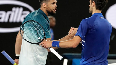 <p>               Serbia's Novak Djokovic, right, is congratulated by France's Jo-Wilfried Tsonga after winning their second round match at the Australian Open tennis championships in Melbourne, Australia, Friday, Jan. 18, 2019.(AP Photo/Aaron Favila)             </p>