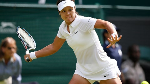 <p>               FILE- In this June 23, 2014, file photo Li Na of China plays a return to Paula Kania of Poland during their first round match at the All England Lawn Tennis Championships in Wimbledon, London. Li Na is the first player from Asia elected to the International Tennis Hall of Fame. She joins Mary Pierce and Yevgeny Kafelnikov in the Class of 2019, which was announced Monday, Jan. 21, 2019, at the Australian Open. (AP Photo/Pavel Golovkin, File)             </p>