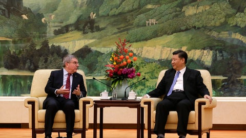 <p>               International Olympic Committee (IOC) President Thomas Bach, left, talks to Chinese President Xi Jinping during their meeting at the Great Hall of the People in Beijing, Thursday, Jan. 31, 2019. (AP Photo/Andy Wong, Pool)             </p>