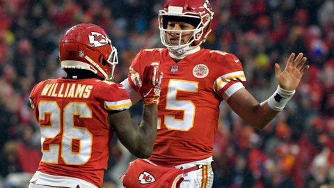 <p>               Kansas City Chiefs quarterback Patrick Mahomes (15) celebrates a touchdown with running back Damien Williams (26) during the first half of an NFL divisional football playoff game against the Indianapolis Colts in Kansas City, Mo., Saturday, Jan. 12, 2019. (AP Photo/Ed Zurga)             </p>