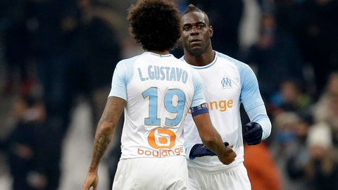 <p>               Marseille's Mario Balotelli celebrates after scoring his side's first goal of the game during a French League One soccer match between Olympique Marseille and Lille at the Stade Velodrome in Marseille, France, Friday, Jan. 25, 2019. (AP Photo/Claude Paris)             </p>