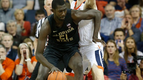 <p>               Florida State center Christ Koumadje (21) tries to get around Virginia forward Jay Huff (30) during the first half of an NCAA college basketball game in Charlottesville, Va., Saturday, Jan. 5, 2019. (AP Photo/Steve Helber)             </p>